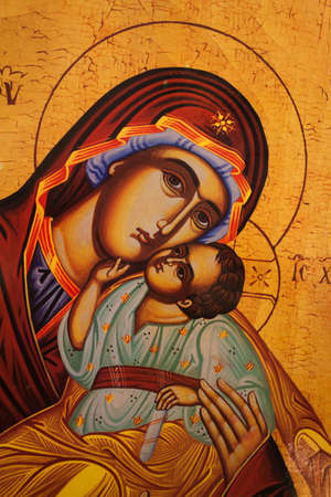 하나님의 어머니 (마리아)와 아이 (예수 그리스도)의 아이콘 스톡 콘텐츠