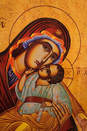 Het pictogram van een moeder van God (Maria) en kind (Jezus Christus)