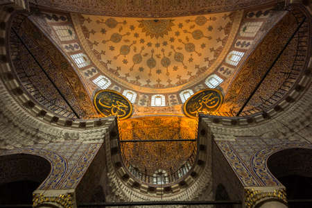 camii: ISTANBUL, TURKEY - OCT 7, 2014: The New Mosque (Yeni Valide Camii), an Ottoman Imperial Mosque interior architecture in Istanbul, Turkey, Eminonu district
