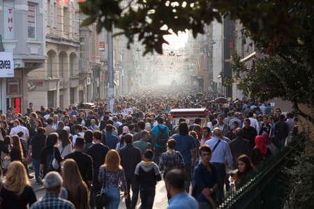 eventide: ISTANBUL, TURKEY - OCT 7: Taksim Istiklal Street at eventide on October 7, 2014 in Istanbul, Turkey. Taksim Istiklal Street is a popular destination in Istanbul.