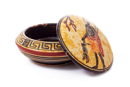 minoan: Greek Antique and Minoan ceramic pots isolated Stock Photo