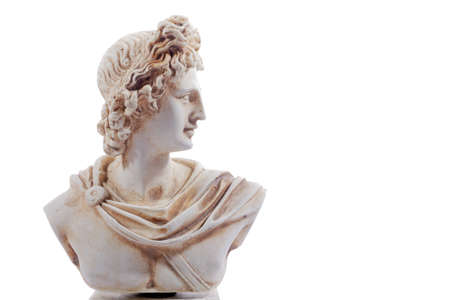 Miniature sculpture of ancient Greece of Apollon. The god of light and the sun, truth and prophecy, medicine and healing, archery, music, poetry, arts and more. Sculpture isolated on white background
