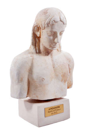 Apollo was the god of the ideal order and balance. Archaic-style plaster miniature on white background