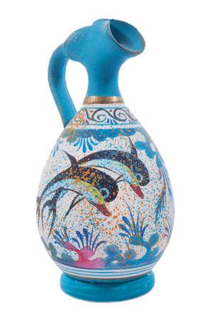 minoan: Greek Antique and Minoan ceramic pots isolated Editorial