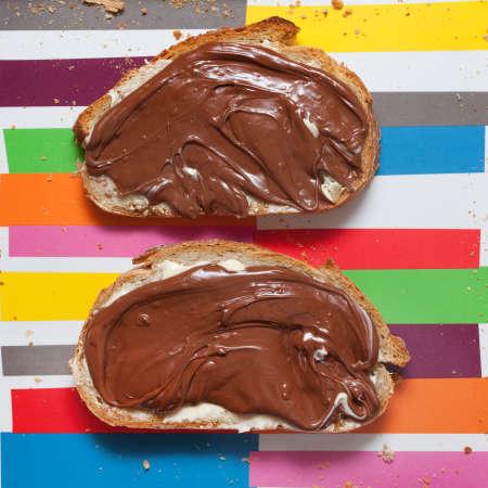 Bread with sweet chocolate hazelnut spread