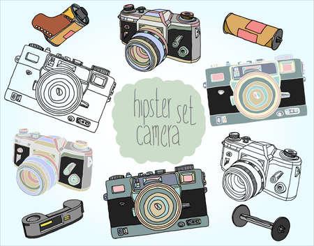 lense: Hand drawn illustrations. Set of vintage photo cameras