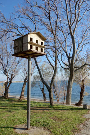 pigeon holes: bird nesting box in a park Stock Photo