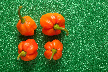 Trinidad Moruga Scorpion Spicy chili in the world on a green background photo