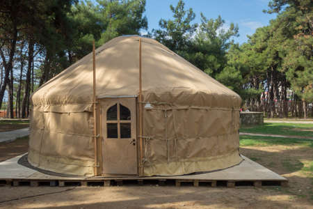 ger: Yurt - a mongolian ger. Portable bent dwelling structure traditionally used by nomads in the steppes of Central Asia.