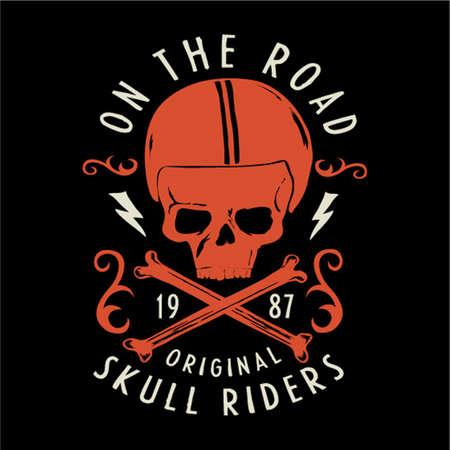 Vintage bikers vector graphics, emblem with grunge background.