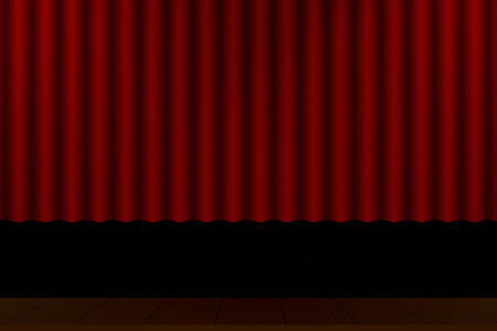 Red curtain theater stage wooden floor 写真素材