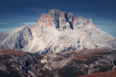Beautiful view of the mountain called Croda Rossa in the Dolomites. italy