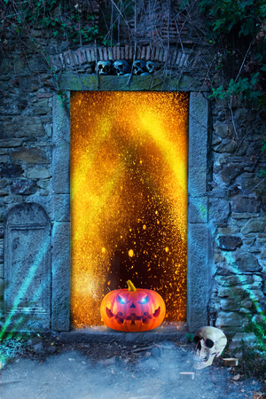 An evilly laughing spooky orange scary pumpkin with glowing eyes in front of a bright blue door at night