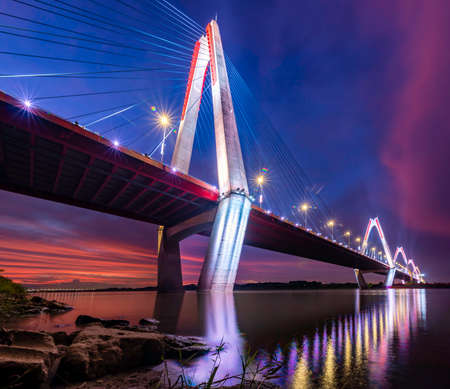 The Nhat Tan Bridge is a cable-stayed bridge crossing the Red River in Hanoi, inaugurated on January 4, 2015. Nhat Tan Bridge was designed and built to become a new icon of the capital Foto de archivo