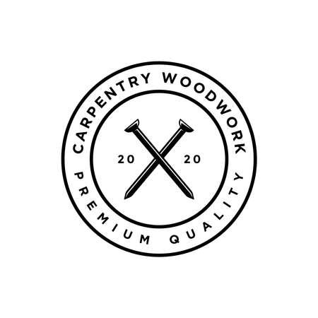 vintage circle emblem style carpentry woodwork logo design