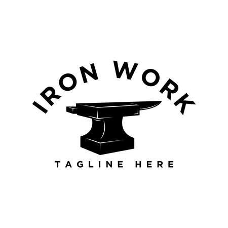 iron work logo design idea Ilustração