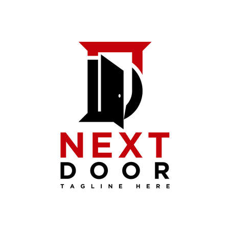 next door logo, letter N and D logo inspirations
