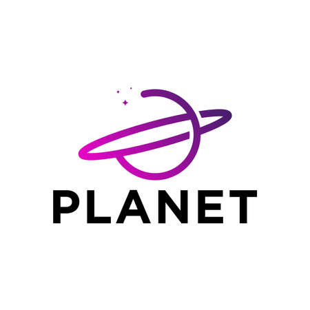 simple outline planet logo design Illusztráció