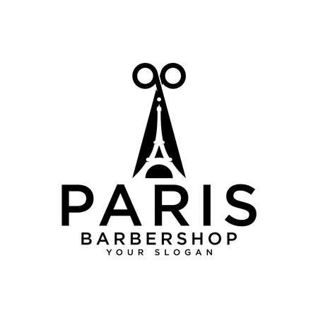 paris barbershop logo, Eiffel Tower logo design