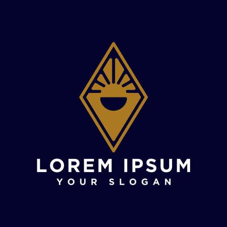 abstract logo emblem sun and land
