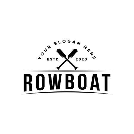 simple vintage emblem style row boat logo Logo