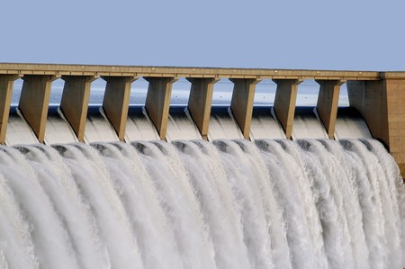 hydro power: Water pouring through the sleuce gates at Gariep dam in the Eastern Cape, South Africa Stock Photo