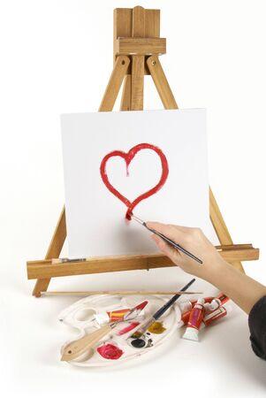 canvass: Me encanta el coraz�n pintado en un permanente de escrutinio en blanco sobre un eisel