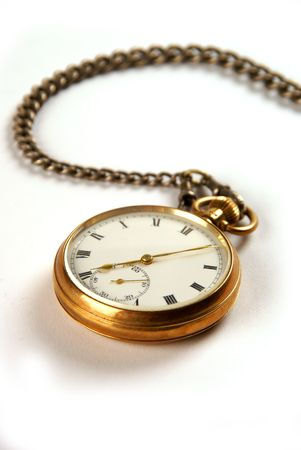 hands in pockets: A gold vintage pocket watch isolated on a white background  Stock Photo