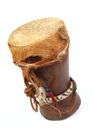 bongo drum: Traditional African Drum with cow hyde on a white background