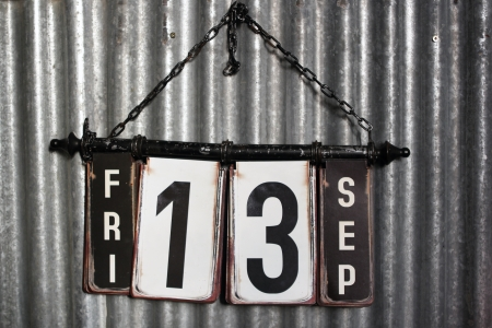 13: Friday the 13th sign with a industrial metal background Stock Photo