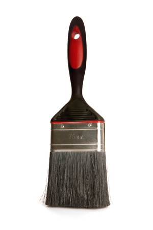 would: Single commercial paint brush that would be used to paint a wall isolated on white