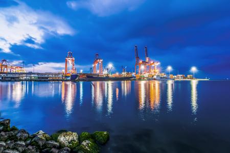 unloading: Industrial sea port of Mersin at night