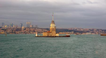 Maiden's Tower in Istanbul, Turkey (KIZ KULESI) Stock Photo