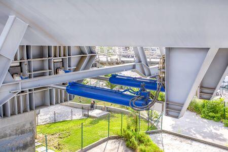 Istanbul, Turkey June 15, 2019: Golden Horn view of new built Halic Metro Bridge, vintage filter applied