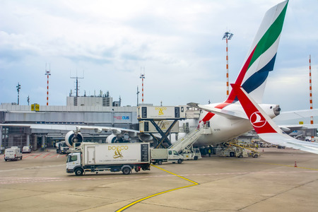 Dusseldorf, Germany - August 09, 2019: Airplanes waiting at the airport waiting for their flight. D?sseldorf airport. Airplanes belonging to Turkish Airlines. Baggage handling vehicles. Dusseldorf