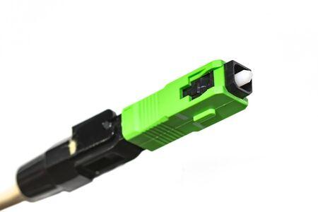 Close up Fiber Optic cables connected