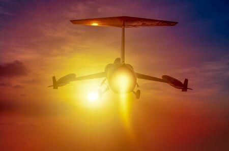 Night flight. Military Airplane 스톡 콘텐츠
