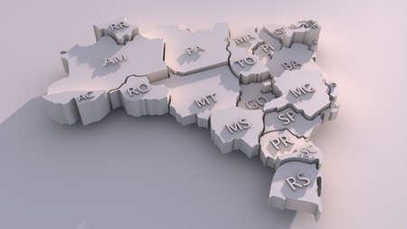 3D Brazil Map Stock Photo