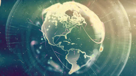 Digital World. Computer graphics made. Illustration of a technological world. Globe. Stock Photo