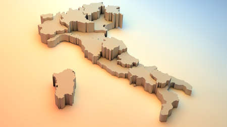 Italy map with regions. Illustration, computer generated image, 3D image. Stock Photo