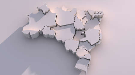3d mode: 3D map of federative republic of Brazil with visible regions. digitally generated image. Computer graphics, Illustration.