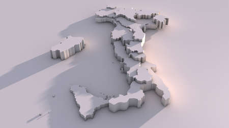 Italy map with regions. Illustration, computer generated image, 3D image. illustration
