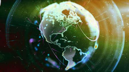 amazon com: Digital World. Computer graphics made. Illustration of a technological world. Globe. Stock Photo