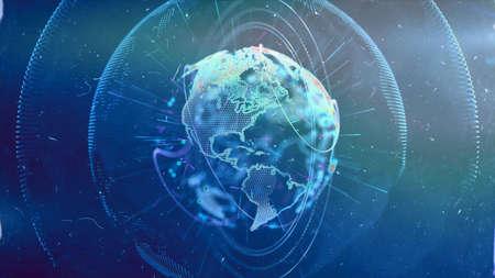 Digital World. Computer graphics made. Illustration of a technological world. Globe. Stock Photo