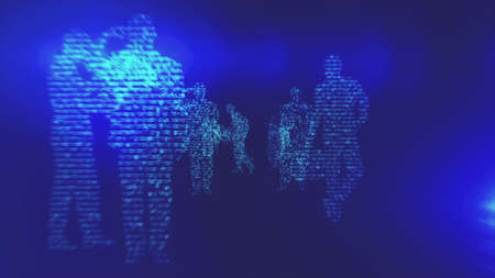 Business Silhouettes In a Digital Environment Made In Computer Graphics