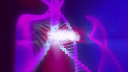 Molecule of DNA Made In Computer Graphics With Great Colors