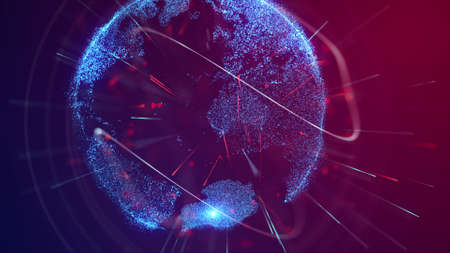 Digital Earth Network Connections, Big Data, Internet of Things. Stock Photo