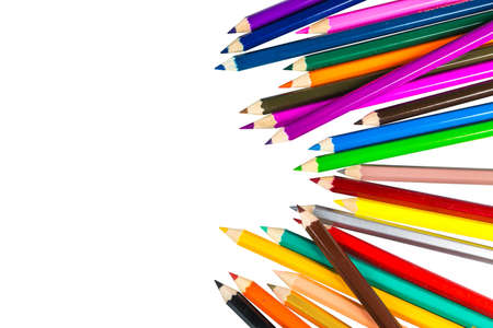 crayon: Colour pencils isolated on white background