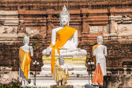 chaimongkol: Buddha Statues at Wat Yai Chaimongkol, Ayutthaya, Thailand Stock Photo