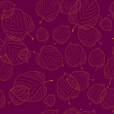 bordeaux: Seamless pattern of autumn leaves on the bordeaux background Illustration
